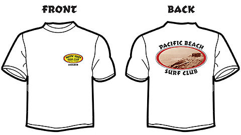 Pacific Beach Surf Club team member's t-shirt